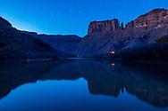 The Colorado River at dusk in Moab, Utah.