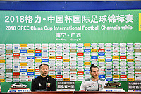 Gareth Bale, right, head coach Ryan Giggs of Wales national football team attend a press conference after the semi-final match against Chinese national men's football team during the 2018 Gree China Cup International Football Championship in Nanning city, south China's Guangxi Zhuang Autonomous Region, 22 March 2018.<br /> <br /> When you are applauded by supporters nearly 6,000 miles from home you must be doing something right and after overtaking Ian Rush as Wales's record goalscorer with a hat-trick in a thumping 6-0 victory, Gareth Bale was certainly deserving of the lavish praise afforded him by the Chinese crowd clearly besotted by the 28-year-old. The Real Madrid forward made his journey from Spain to the Far East worthwhile as he starred in his team's victory, recorded his first international treble and moved past Rush on to 29 goals for Wales, all while helping to give Ryan Giggs the perfect result in his first match in charge since succeeding Chris Coleman as manager.