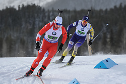 February 8, 2019 - Calgary, Alberta, Canada - Gow Scott (CAN) on the left, and Semenov Sergii (UKR) on the right are competing during Men's Relay of 7 BMW IBU World Cup Biathlon 2018-2019. Canmore, Canada, 08.02.2019 (Credit Image: © Russian Look via ZUMA Wire)