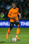 Barnet defender David Tutonda (23) on the ball during the The FA Cup fourth round match between Barnet and Brentford at The Hive Stadium, London, England on 28 January 2019.