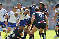 Samoa Paul Perez runs into a defensive wall during the Rugby World Cup 2015 match between Samoa and USA at the Brighton Community Stadium, Falmer, United Kingdom on 20 September 2015.
