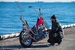 "Arie VanSchyndel with his 1950 HD Panhead ""VULTURES REVENGE"" at the docks before the Mooneyes Yokohama Hot Rod & Custom Show. Yokohama, Japan. December 5, 2015.  Photography ©2015 Michael Lichter."