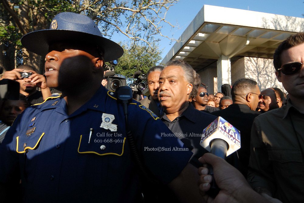 """Sep 20, 2007 - Jena, LA, USA - Louisiana State police attempt to push the media back in front of Rev. AL SHARPTON, MICHALE BAISDEN at the beginning of hte march to the Jena high school. The plight of the """"Jena Six"""", a group of black teenagers who were initially charged with attempted murder after beating a white classmate, has provoked one of the biggest civil rights demonstrations in the US in recent years. Protesters converged on the small Louisiana town of Jena to demonstrate against what they said was a double standard of prosecution for blacks and whites. They came in their thousands, protesters from across the United States carrying banners and signs that declared """"Free the Jena six"""" and """"Enough is enough"""". (Credit Image: © Suzi Altman/ZUMA Press"""
