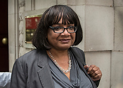 © Licensed to London News Pictures. 02/05/2017. London, UK. Shadow Home Secretary DIANE ABBOT leaves Milbank Studios in Westminster after an appearance on the Daily Politics program. DIANE ABBOTT made a number of costing errors during a radio interview about  a Labour election pledge on increased policing numbers.  Photo credit: Peter Macdiarmid/LNP