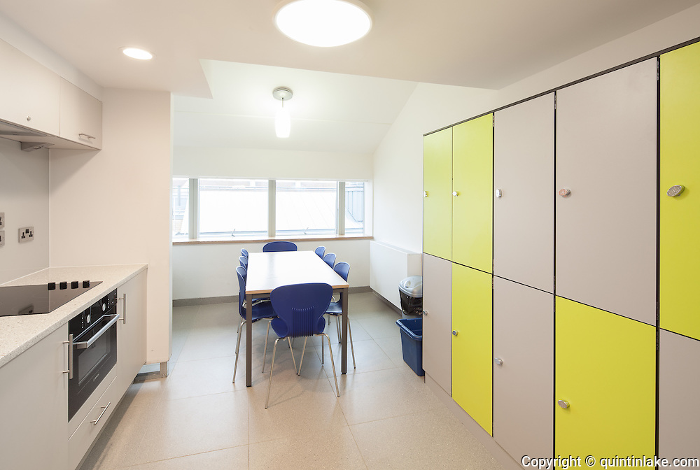 Student Kitchen. Pembroke College, New Build on completion March 2013. Oxford, UK