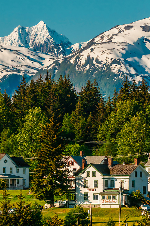 Houses in the Fort Seward area of Haines, Alaska USA.