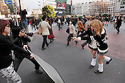 young aspiring female models posing Hachiko square Shibuya Tokyo Japan