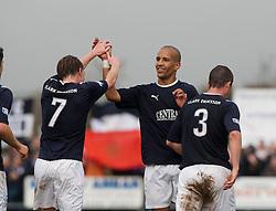 Falkirk's Farid El Alagui cele scoring their third goal..Annan Athletic 0 v 3 Falkirk. Semi Final of the Ramsdens Cup, 9/10/2011..Pic © Michael Schofield.