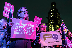 © Licensed to London News Pictures. 15/01/2019. London, UK. Anti-Brexit protesters at a People's Vote rally in Parliament Square, as MPs continue to debate Prime Minister Theresa May's proposed Brexit deal. MPs will vote on the deal this evening. Photo credit: Rob Pinney/LNP