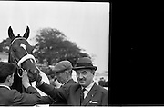 """19/09/1962<br /> 09/19/1962<br /> 19 September 1962<br /> Irish St. Leger at the Curragh Race Course, Co. Kildare. Image shows """"Arctic Vale"""" ridden by Peadar Matthews, winner of the race with trainerPaddy Prendergast."""