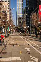 "Pike Street is so empty that the pigeons have literally taken over the area. (Perhaps it should be temporarily renamed as ""Pigeon Street"")? (March 21, 2020)."