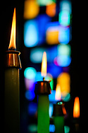 Lit candles before an Advent worship service on Wednesday, Dec. 9, 2020, at Zion Lutheran Church, Maryland Heights, Mo. LCMS Communications/Erik M. Lunsford