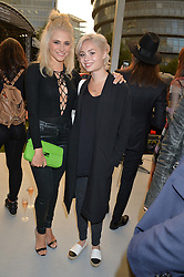 Left to right, PIXIE LOTT and NINA NESBITT at the launch of the new remastered Fiat 500 featuring an exclusive performance by Ella Eyre held in Potters Field Park, Southwark, London SE1 on 2nd September 2015.