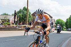 Thalita de Jong goes in a solo move building up a gap of almost a minute at Boels Hills Classic 2016. A 131km road race from Sittard to Berg en Terblijt, Netherlands on 27th May 2016.