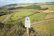 Shallow depth of field Frog Firle National Trust sign, High and Over, near Alfriston, east Sussex, England