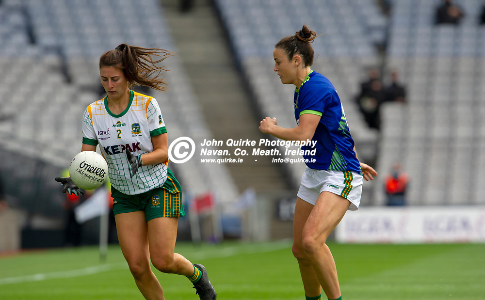 26-06-21. Meath v Kerry - Lidl Ladies National Football League Division 2 Final at Croke Park.<br /> Emma Troy, Meath in action against Emma Dineen Kerry.<br /> Photo: John Quirke / www.quirke.ie<br /> ©John Quirke Photography, 16 Proudstown Road, Navan. Co. Meath. (info@quirke.ie / 046-9028461 / 087-2579454).