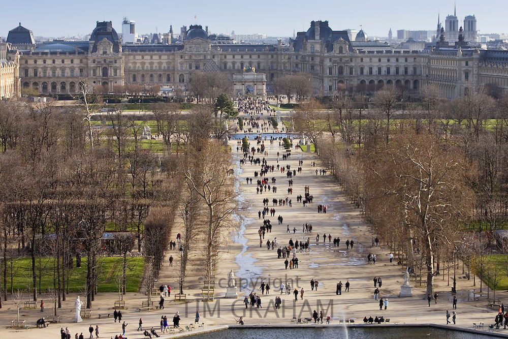 Visitors stroll through Jardin des Tuileries, Paris, France