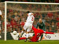 Fotball<br /> VM-kvalifisering<br /> Wales v Polen<br /> 13.10.2004<br /> Foto: BPI/Digitalsport<br /> NORWAY ONLY<br /> <br /> Wales v Poland. FIFA World Cup European Qualifying Group Six. Millenium Stadium. 13/10/2004.<br /> <br /> Maciej Zurawski fires in the second for Poland