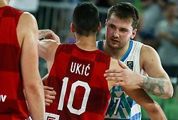 Roko Leni Ukic of Croatia and Luka Doncic of Slovenia after friendly basketball match between National teams of Slovenia and Croatia, on June 18, 2021 in Arena Stozice, Ljubljana, Slovenia. Photo by Vid Ponikvar / Sportida