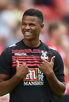 Crystal Palace's Fraizer Campbell smiles prior to the soccer test match 1st FC Union Berlin vs Crystal Palace F.C. in Berlin, Germany, 18 July 2015. Photo: Soeren Stache/dpa