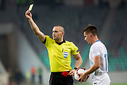 Referee Mads-Kristoffer Kristoffersen of Denmark with yellow card during football match between National Teams of Slovenia and Cyprus in Final Tournament of UEFA Nations League 2019, on October 16, 2018 in SRC Stozice, Ljubljana, Slovenia. Photo by Urban Urbanc / Sportida