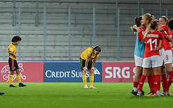 October 9, 2018 - Biel, SWITZERLAND - Belgium's Kassandra Ndoutou Eboa Missipo and Belgium's Tine De Caigny look dejected after a soccer game between Switzerland and Belgium's national team the Red Flames, Tuesday 09 October 2018, in Biel, Switzerland, the return leg of the play-offs qualification games for the women's 2019 World Cup. BELGA PHOTO DAVID CATRY (Credit Image: © David Catry/Belga via ZUMA Press)