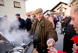 Cooking tea at reception of Slovenian athlete Petra Majdic at her home town when she arrived home with small cristal globus at the end of the nordic season 2008/2009, on March 24, 2009, in Dol pri Ljubljani, Slovenia. (Photo by Vid Ponikvar / Sportida)