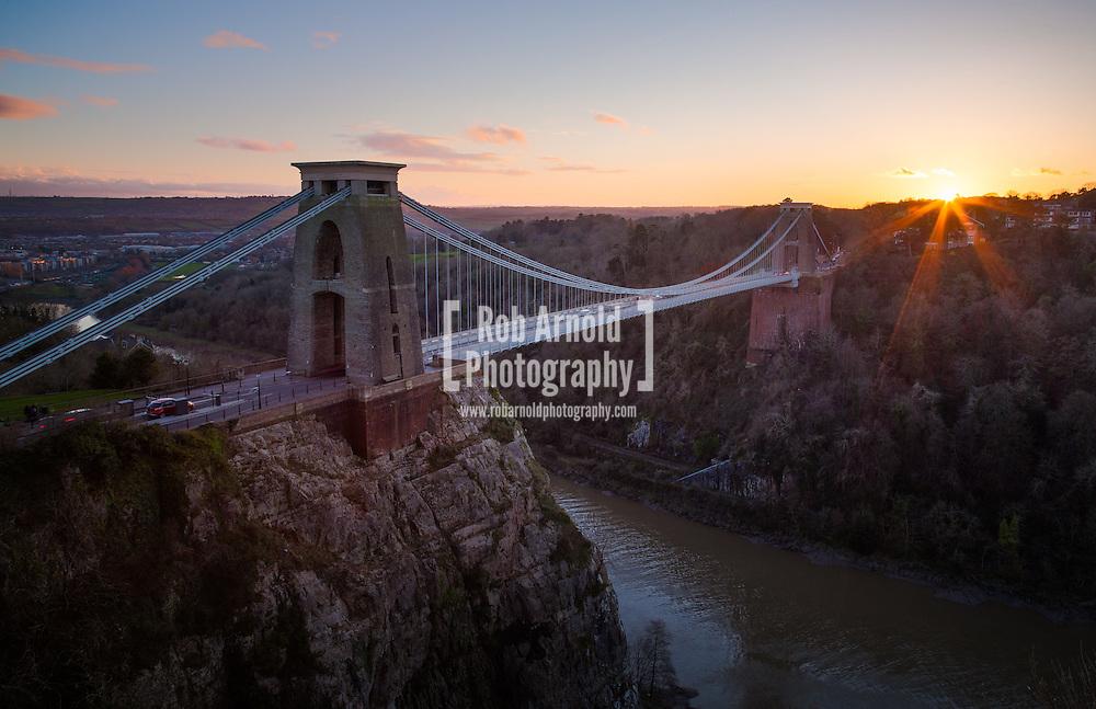 Sunset over Clifton Suspension Bridge in Bristol