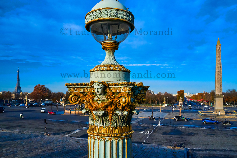 France, Paris (75), place de la Concorde et la tour Eiffel, zone classée Patrimoine Mondial de l'UNESCO // France, Paris (75), place de la Concorde and Eiffel tower, area classified as World Heritage by UNESCO