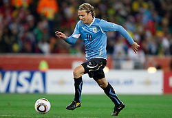 Diego Forlan of Uruguay during the  2010 FIFA World Cup South Africa Quarter Finals football match between Uruguay and Ghana on July 02, 2010 at Soccer City Stadium in Sowetto, suburb of Johannesburg. Uruguay defeated Ghana after penalty shots. (Photo by Vid Ponikvar / Sportida)