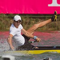 Vladimir Fedosenko from Russia celebrates his victory in the C1 men Kayak 500m final of the 2011 ICF World Canoe Sprint Championships held in Szeged, Hungary on August 20, 2011. ATTILA VOLGYI
