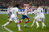 Atletico de Madrid's Fernando Torres and Real Madrid's Marcelo, Sergio Ramos and Toni Kroos during 2014-15 Spanish King Cup match at Vicente Calderon stadium in Madrid, Spain. January 07, 2015. (ALTERPHOTOS/Luis Fernandez)
