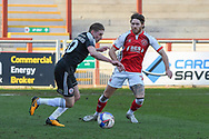 Accrington Stanley's midfielder Joe Pritchard (10) in possession during the EFL Sky Bet League 1 match between Fleetwood Town and Accrington Stanley at the Highbury Stadium, Fleetwood, England on 27 February 2021.