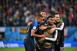 France's Florian Thauvin, Corentin Tolisso, Kylian Mbappe and Thomas Lemar celebrate at the end of 2018 FIFA World Cup semi-final match France v Belgium in St Petersburg, Russia, July 10, 2018. France won 1-0. Photo by Christian Liewig/ABACAPRESS.COM