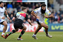 Kane Palma-Newport of Bath Rugby takes on the Harlequins defence - Photo mandatory by-line: Patrick Khachfe/JMP - Mobile: 07966 386802 31/01/2015 - SPORT - RUGBY UNION - London - The Twickenham Stoop - Harlequins v Bath Rugby - LV= Cup