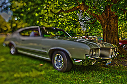 01 August 2015:  1972 Oldsmobile Cutlass - Tom Hilton<br /> <br /> Displayed at the McLean County Antique Automobile Association Car show at David Davis Mansion in Bloomington Illinois<br /> <br /> This image was produced in part utilizing High Dynamic Range (HDR) processes.  It should not be used editorially without being listed as an illustration or with a disclaimer.  It may or may not be an accurate representation of the scene as originally photographed and the finished image is the creation of the photographer.