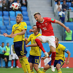 July 3, 2018 - Russia - July 03, 2018, St. Petersburg, FIFA World Cup 2018 Football, the playoff round. Football match of Sweden - Switzerland at the stadium of St. Petersburg. Player of the national team Ola Toivonen; Granite Jaca. (Credit Image: © Russian Look via ZUMA Wire)