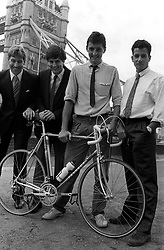 The Metropolitan Police four-man team, consisting of (l-r) Peter Miller, Stuart Bruce, Nick Bingham and Sean Rowley, in London preparing for the start of tomorrow's 1985 London to Paris Triathlon endurance relay over three days.