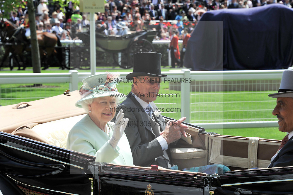 HM The QUEEN and the DUKE OF EDINBURGH at day 1 of the 2011 Royal Ascot Racing festival at Ascot Racecourse, Ascot, Berkshire on 14th June 2011.