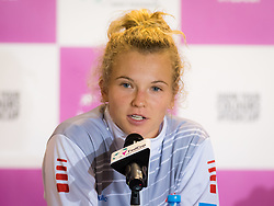 November 10, 2018 - Prague, Czech Republic - Katerina Siniakova of the Czech Republic talks to the media at the 2018 Fed Cup Final between the Czech Republic and the United States of America (Credit Image: © AFP7 via ZUMA Wire)