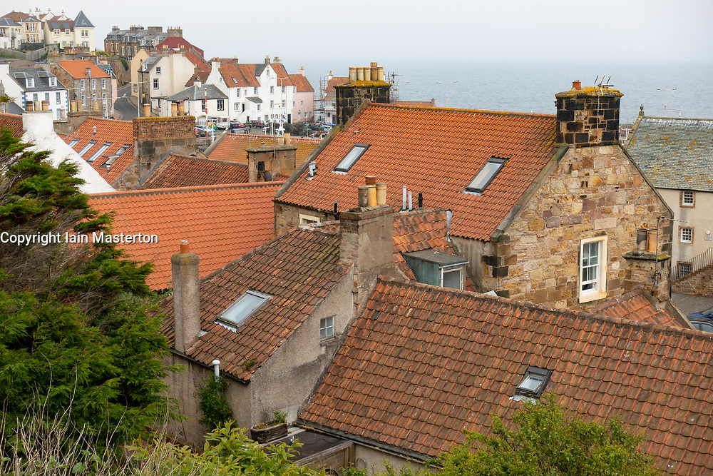 View of of rooftops of old houses at Pittenweem village in the East Neuk of Fife in Scotland, UK
