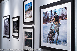The photography of Mikey Revolt Arnold on display in the Old Iron - Young Blood exhibition in the Motorcycles as Art gallery at the Buffalo Chip during the annual Sturgis Black Hills Motorcycle Rally. Sturgis, SD. USA. Tuesday August 8, 2017. Photography ©2017 Michael Lichter.