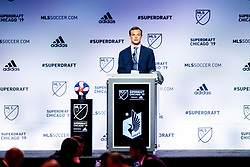 January 11, 2019 - Chicago, IL, U.S. - CHICAGO, IL - JANUARY 11: Chase Gasper is selected as the number fifteen overall pick to the Minnesota United FC in the first round of the MLS SuperDraft on January 11, 2019, at McCormick Place in Chicago, IL. (Photo by Patrick Gorski/Icon Sportswire) (Credit Image: © Patrick Gorski/Icon SMI via ZUMA Press)