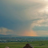 A summer thunderstorm squall moves over Bozeman, Montana and the Gallatin Valley.