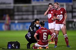 Chloe Logarzo of Bristol City Women recieves treatment - Mandatory by-line: Ryan Hiscott/JMP - 14/11/2020 - FOOTBALL - Twerton Park - Bath, England - Bristol City Women v Tottenham Hotspur Women - Barclays FA Women's Super League