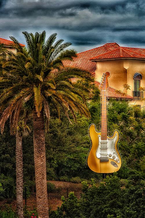This guitar is displayed at Universal Studios in Orlando Florida.