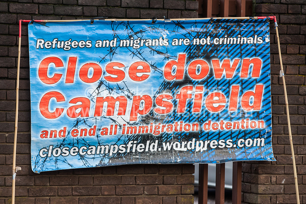 Chelmsford, UK. 6th February, 2019. A banner from the Close Campsfield Campaign at a protest by activists from around the UK in solidarity with the Stansted 15 before their sentencing at Chelmsford Crown Court. The Stansted 15 were convicted on 10th December of an anti-terrorism offence under the Aviation and Maritime Security Act 1990 following non-violent direct action to try to prevent a Home Office deportation flight carrying precarious migrants to Nigeria, Ghana and Sierra Leone from taking off from Stansted airport in March 2017.