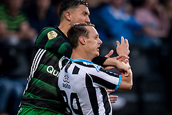(L-R) Steven Berghuis of Feyenoord, Jeff Hardeveld of Heracles Almelo during the Dutch Eredivisie match between Heracles Almelo and Feyenoord Rotterdam at Polman stadium on September 09, 2017 in Almelo, The Netherlands