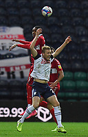 Preston North End's Jayden Stockley is fouled by  Middlesbrough's Djed Spence<br /> <br /> Photographer Dave Howarth/CameraSport<br /> <br /> The EFL Sky Bet Championship - Preston North End v Middlesbrough - Wednesday 9th December 2020 - Deepdale - Preston<br /> <br /> World Copyright © 2020 CameraSport. All rights reserved. 43 Linden Ave. Countesthorpe. Leicester. England. LE8 5PG - Tel: +44 (0) 116 277 4147 - admin@camerasport.com - www.camerasport.com