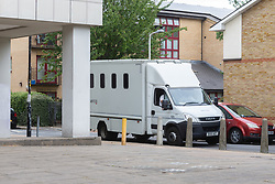 A prison van leaves Camberwell Green Magistrates Court in London. London, July 15 2019.
